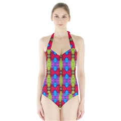 Colorful Painting Goa Pattern Women s Halter One Piece Swimsuit