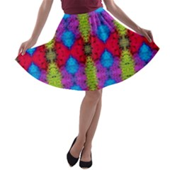 Colorful Painting Goa Pattern A-line Skater Skirt