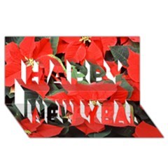 POINSETTIA Happy New Year 3D Greeting Card (8x4)