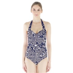 Reflective Illusion 04 Women s Halter One Piece Swimsuit