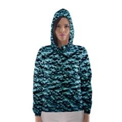 Green Metallic Background, Hooded Wind Breaker (women)