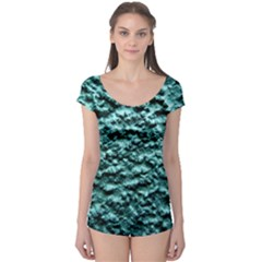 Green Metallic Background, Short Sleeve Leotard