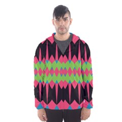 Rhombus and other shapes pattern Mesh Lined Wind Breaker (Men)