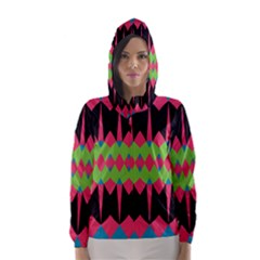 Rhombus and other shapes pattern Hooded Wind Breaker (Women)