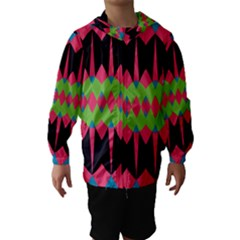Rhombus and other shapes pattern Hooded Wind Breaker (Kids)