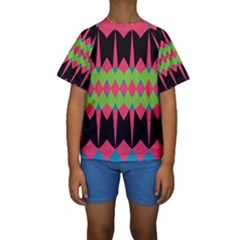 Rhombus and other shapes pattern  Kid s Short Sleeve Swimwear
