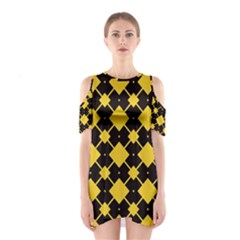 Connected rhombus pattern Women s Cutout Shoulder Dress