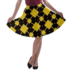 Connected rhombus pattern A-line Skater Skirt