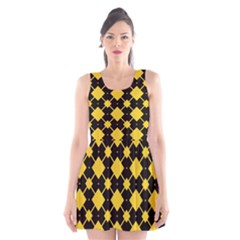 Connected Rhombus Pattern Scoop Neck Skater Dress