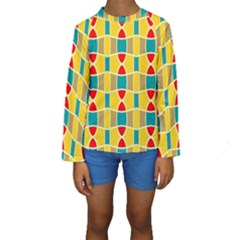 Colorful chains pattern  Kid s Long Sleeve Swimwear