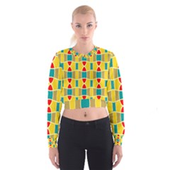 Colorful Chains Pattern   Women s Cropped Sweatshirt