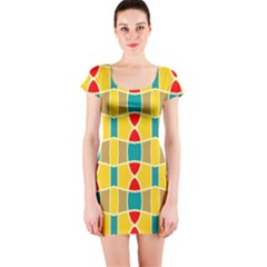 Colorful Chains Pattern Short Sleeve Bodycon Dress