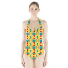 Colorful chains pattern Women s Halter One Piece Swimsuit