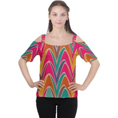 Bended Shapes In Retro Colors Women s Cutout Shoulder Tee