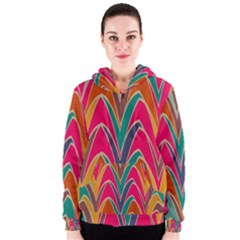 Bended Shapes In Retro Colors Women s Zipper Hoodie