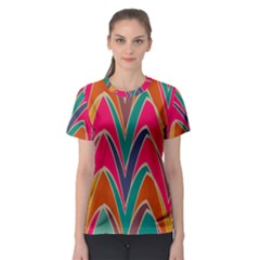 Bended shapes in retro colors Women s Sport Mesh Tee