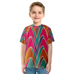 Bended shapes in retro colors Kid s Sport Mesh Tee