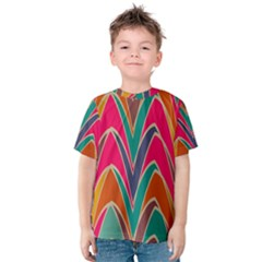 Bended shapes in retro colors Kid s Cotton Tee