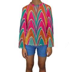 Bended shapes in retro colors  Kid s Long Sleeve Swimwear