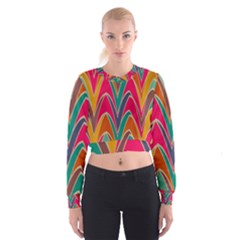 Bended shapes in retro colors   Women s Cropped Sweatshirt
