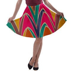 Bended Shapes In Retro Colors A Line Skater Skirt