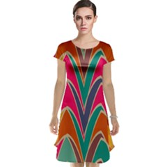 Bended shapes in retro colors Cap Sleeve Nightdress