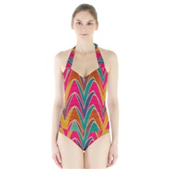 Bended shapes in retro colors Women s Halter One Piece Swimsuit