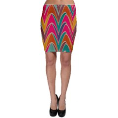 Bended shapes in retro colors Bodycon Skirt