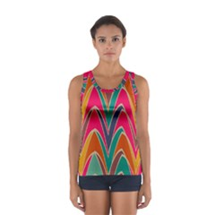 Bended shapes in retro colors Women s Sport Tank Top