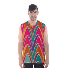 Bended shapes in retro colors Men s Basketball Tank Top