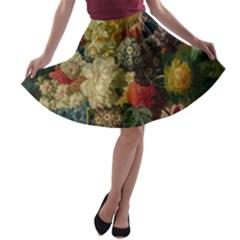 Flowers in Vase Painting A-line Skater Skirt
