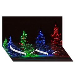 Christmas Lights 1 Twin Heart Bottom 3d Greeting Card (8x4)