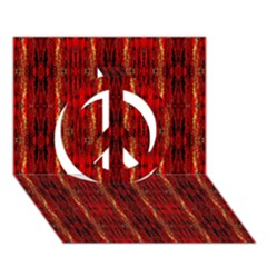 Red Gold, Old Oriental Pattern Peace Sign 3D Greeting Card (7x5)