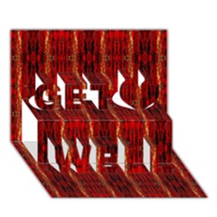 Red Gold, Old Oriental Pattern Get Well 3D Greeting Card (7x5)