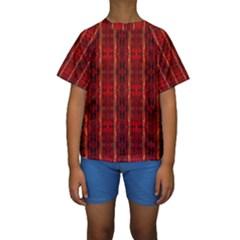 Red Gold, Old Oriental Pattern Kid s Short Sleeve Swimwear