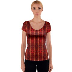 Red Gold, Old Oriental Pattern Women s V-Neck Cap Sleeve Top