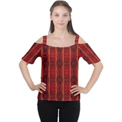 Red Gold, Old Oriental Pattern Women s Cutout Shoulder Tee