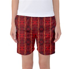 Red Gold, Old Oriental Pattern Women s Basketball Shorts