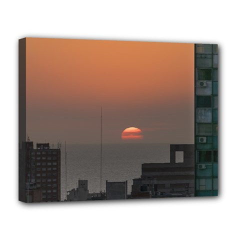 Aerial View Of Sunset At The River In Montevideo Uruguay Canvas 14  x 11