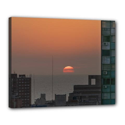 Aerial View Of Sunset At The River In Montevideo Uruguay Canvas 20  x 16