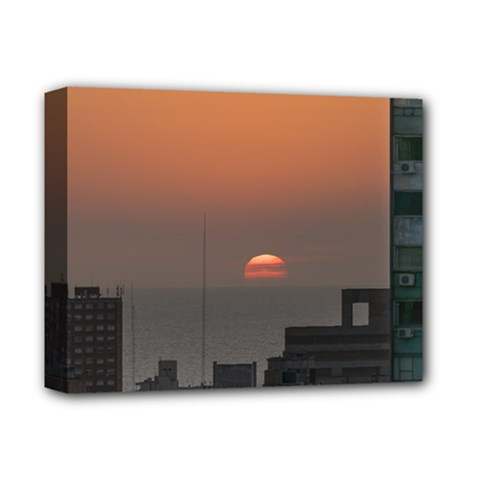 Aerial View Of Sunset At The River In Montevideo Uruguay Deluxe Canvas 14  x 11