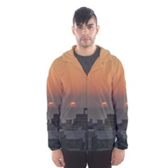 Aerial View Of Sunset At The River In Montevideo Uruguay Hooded Wind Breaker (men)