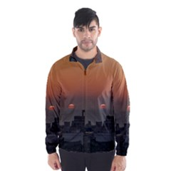Aerial View Of Sunset At The River In Montevideo Uruguay Wind Breaker (men)