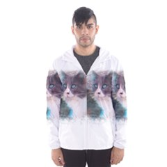Cat Splash Png Hooded Wind Breaker (Men)