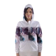 Cat Splash Png Hooded Wind Breaker (women)