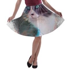 Cat Splash Png A Line Skater Skirt