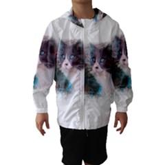 Cat Splash Png Hooded Wind Breaker (Kids)
