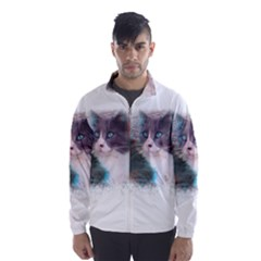 Cat Splash Png Wind Breaker (men)