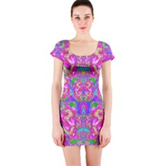 Fantasy forest of fantasy flowers Short Sleeve Bodycon Dress