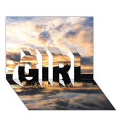 Sun Reflected On Lake Girl 3d Greeting Card (7x5)